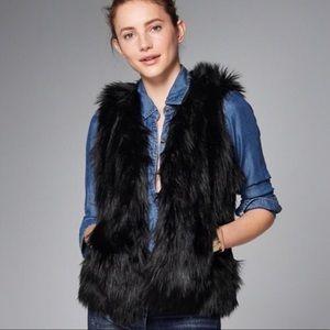 Abercrombie and Fitch black fur vest